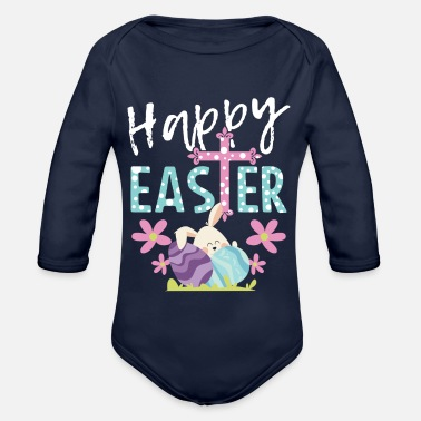 Easter Happy Easter Easter Bunny Happy Easter Gift Bunny - Organic Long-Sleeved Baby Bodysuit