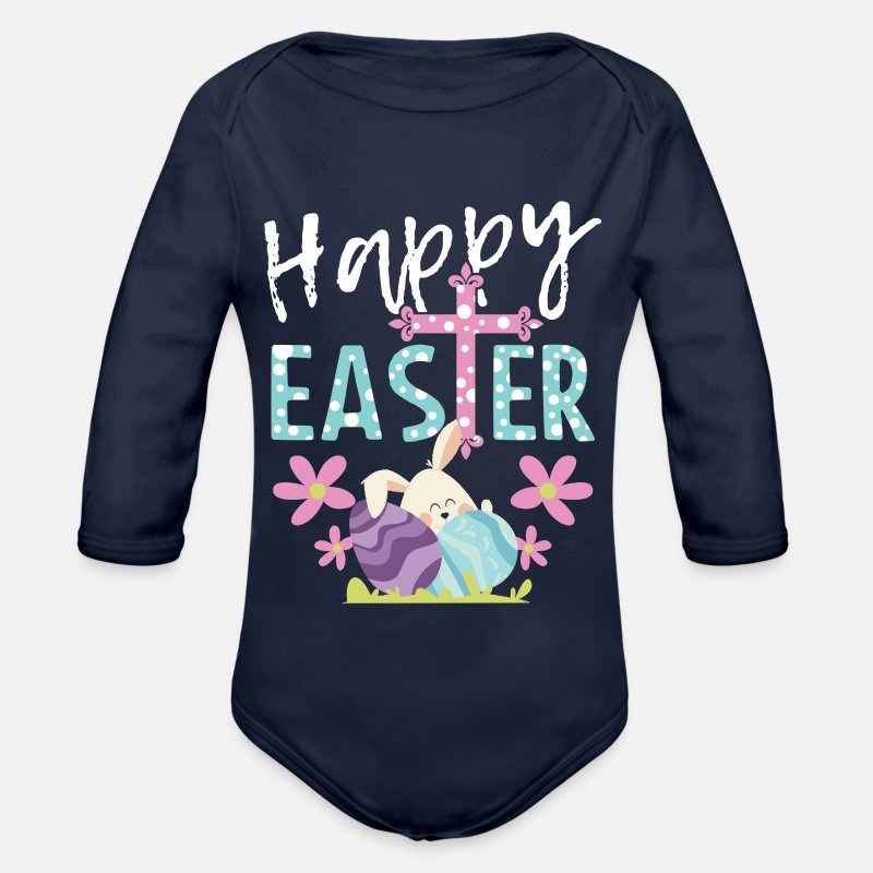 Easter Baby Clothing - Happy Easter Easter Bunny Happy Easter Gift Bunny - Organic Long-Sleeved Baby Bodysuit dark navy