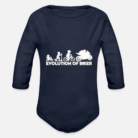 Biker Baby Clothes - Biker - Organic Long-Sleeved Baby Bodysuit dark navy