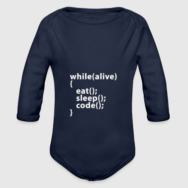 Whilealive eat; sleep; code; - Body bébé bio manches longues