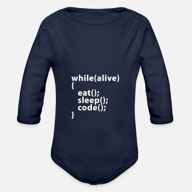 Code Whilealive eat; sleep; code; - Body bébé bio manches longues