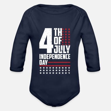Officialbrands Independence Day 4 luglio - Flag - T-Shirt - Body ecologico per neonato a manica lunga