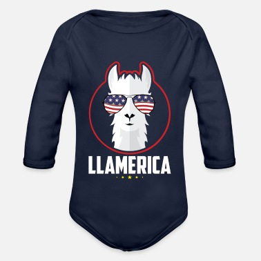 Officialbrands Independence Day 4 juli - LLAMERICA - T-shirt - Baby bio-rompertje met lange mouwen