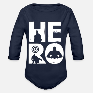 Super HERO / super hero motif - Organic Long-Sleeved Baby Bodysuit