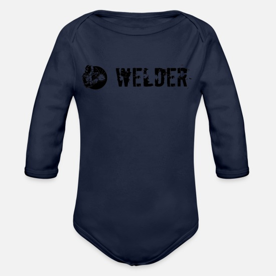 Plain Baby Clothes - Welder plain black - Organic Long-Sleeved Baby Bodysuit dark navy