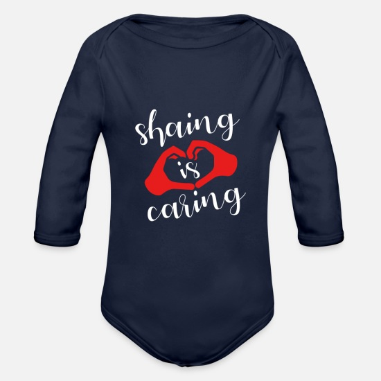 Injustice Baby Clothes - Share Sharing Caring Help - Organic Long-Sleeved Baby Bodysuit dark navy