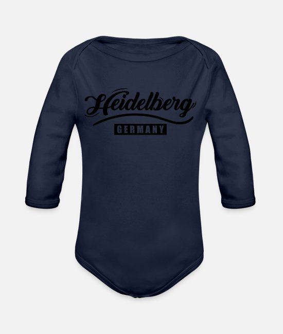 Heidelberg City Baby Bodysuits - Heidelberg Germany - Organic Long-Sleeved Baby Bodysuit dark navy