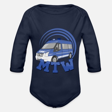 Thw MTW crew car thw blue - Organic Long-Sleeved Baby Bodysuit