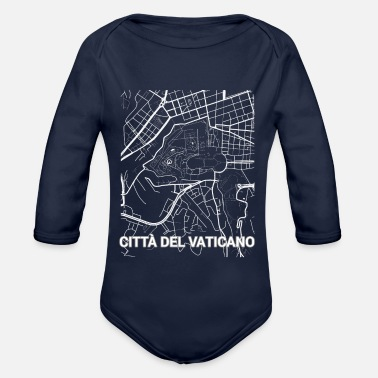 Set25 Città del Vaticano city map and streets - Organic Long-Sleeved Baby Bodysuit