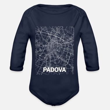 Set25 Padova city map and streets - Organic Long-Sleeved Baby Bodysuit