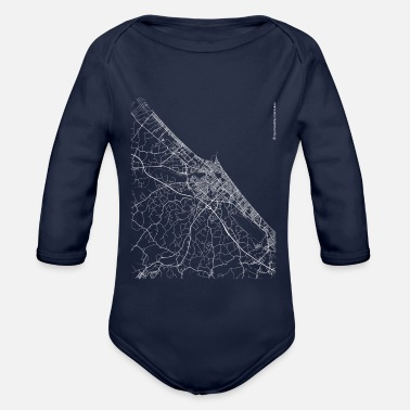 Set25 Minimal Rimini city map and streets - Organic Long-Sleeved Baby Bodysuit