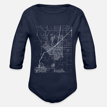 Streets Minimal Vacaville city map and streets - Organic Long-Sleeved Baby Bodysuit