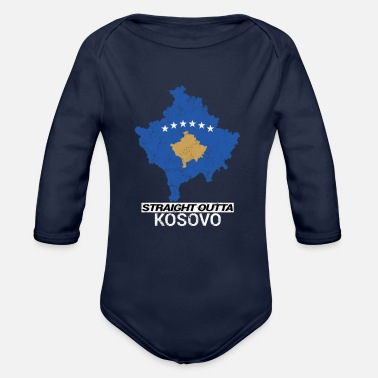 Football Carte du pays Straight Outta Kosovo - Body Bébé bio manches longues