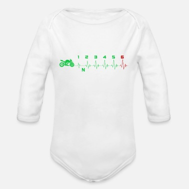 Speed Frenzy Biker Superbike Speed Heartbeat for all speed fans - Organic Long-Sleeved Baby Bodysuit