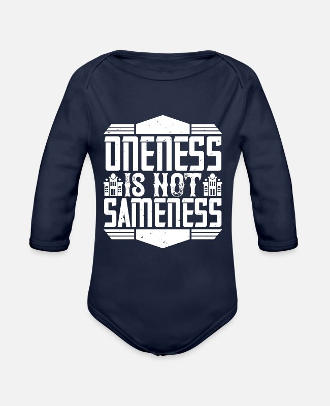 Building Baby Bodysuits - Architect - Oneness is sameness - Organic Long-Sleeved Baby Bodysuit dark navy