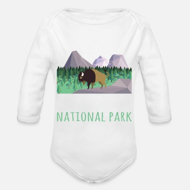 Helped Dome US Bison Buffalo Yellowstone National Park - Organic Long-Sleeved Baby Bodysuit