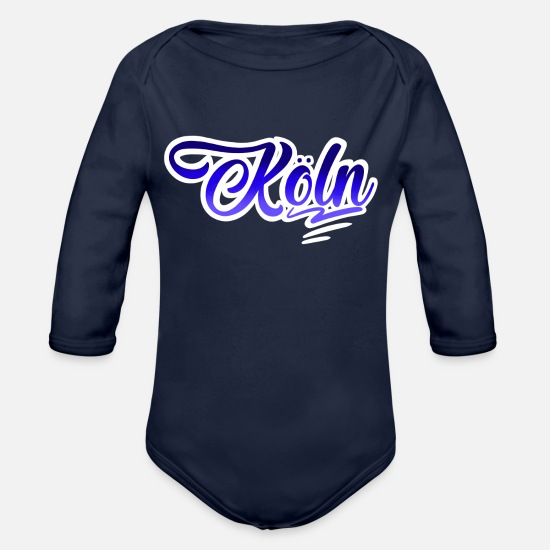 Love Baby Clothes - Cologne - Organic Long-Sleeved Baby Bodysuit dark navy