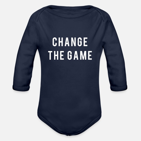 Game Baby Clothes - Change the game - Organic Long-Sleeved Baby Bodysuit dark navy