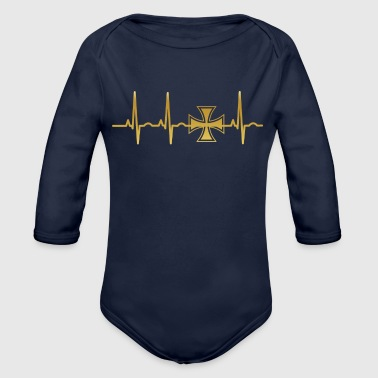 evolution ekg heartbeat iron cross eisernes kreuz - Baby Bio-Langarm-Body