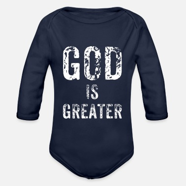 Greater God is greater - Organic Long-Sleeved Baby Bodysuit