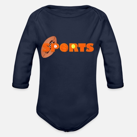 Sport Baby Clothes - SPORTS - Organic Long-Sleeved Baby Bodysuit dark navy