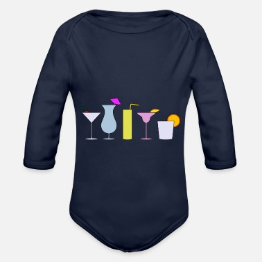 Comic Cocktail Cocktails - Organic Long-Sleeved Baby Bodysuit