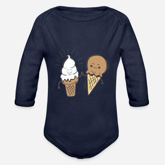 Nice Baby Clothes - Best friends - ice cream - Organic Long-Sleeved Baby Bodysuit dark navy