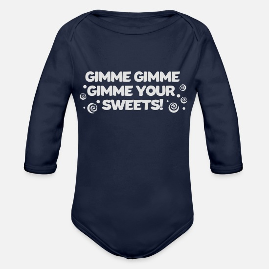 Cookie Baby Clothes - Sweets sweet gimme your sweets sugar sweets - Organic Long-Sleeved Baby Bodysuit dark navy