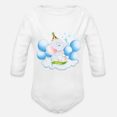 Animo Elephant Baby Shower - Organic Long-Sleeved Baby Bodysuit