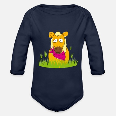 Horse Fan Horse Lina for horse fans :-D - Organic Long-Sleeved Baby Bodysuit