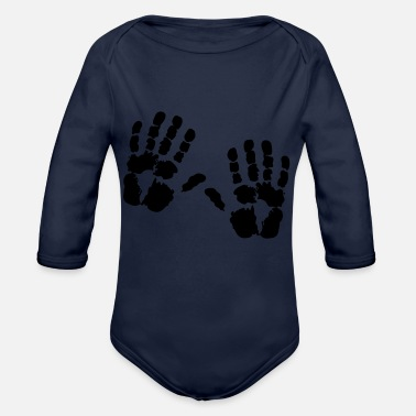 Handprint hand - Organic Long-Sleeved Baby Bodysuit