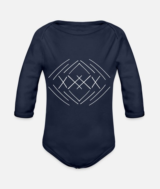 Arrow Baby Bodysuits - Abstract X lines crosses lines plain white - Organic Long-Sleeved Baby Bodysuit dark navy