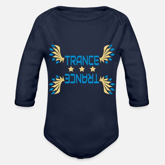 Trance Baby Clothes - Trance (6) - Organic Long-Sleeved Baby Bodysuit dark navy