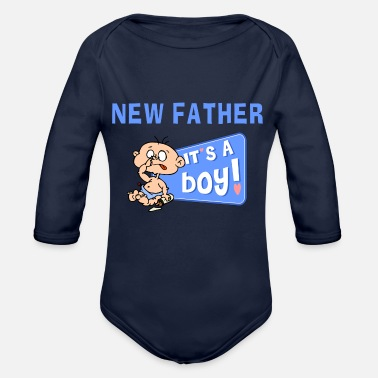 New Father New Father It's A Boy - Organic Long-Sleeved Baby Bodysuit