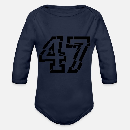 Birthday Baby Clothes - 47 broken - Organic Long-Sleeved Baby Bodysuit dark navy