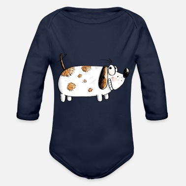 Fat Funny Dog - Dogs Comic - Organic Long-Sleeved Baby Bodysuit