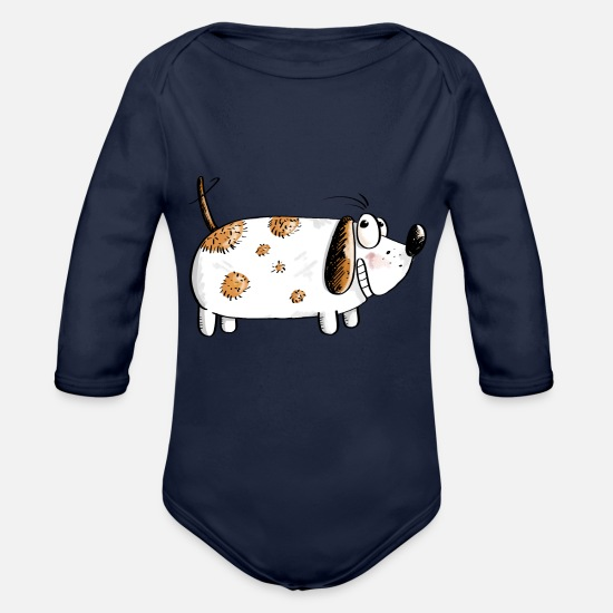 Collection Baby Clothes - Fat Funny Dog - Dogs Comic - Organic Long-Sleeved Baby Bodysuit dark navy