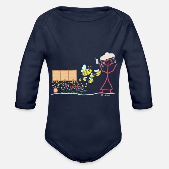 Occupation Baby Clothes - Beekeeper line woman bees fly buzz pollen - Organic Long-Sleeved Baby Bodysuit dark navy