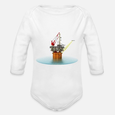 Oil Exploration Drilling platform in the sea - Organic Long-Sleeved Baby Bodysuit