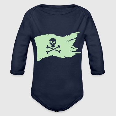 Piratenflagge Pastell Mint - Baby Bio-Langarm-Body