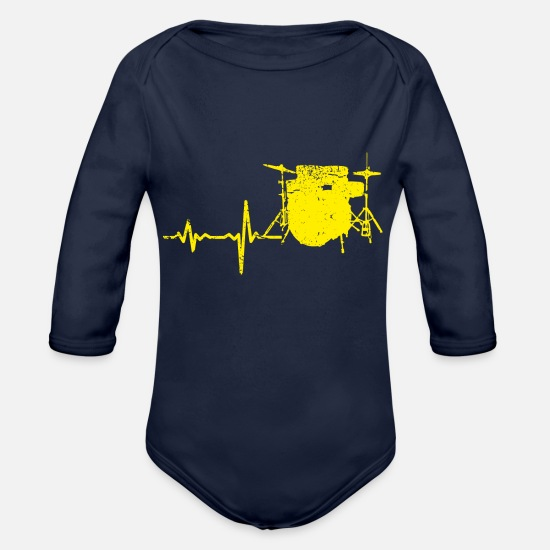 Birthday Baby Clothes - Gift heartbeat drums yellow - Organic Long-Sleeved Baby Bodysuit dark navy