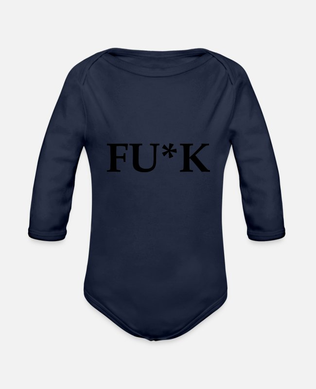 Hard Baby Bodysuits - FU * K - Organic Long-Sleeved Baby Bodysuit dark navy