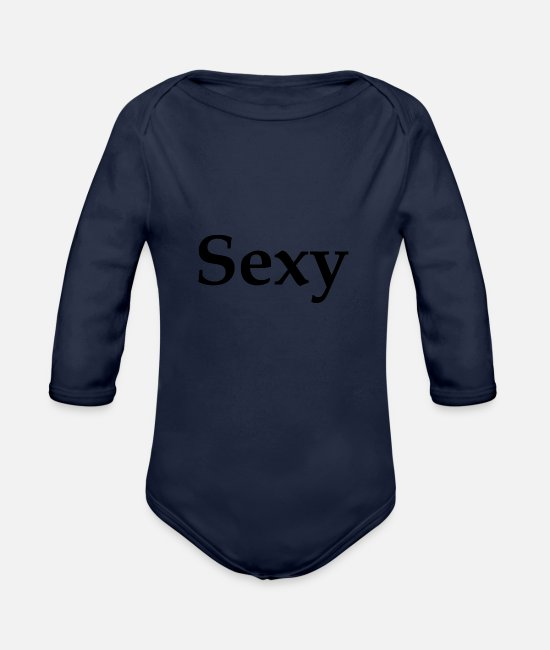 Pretty Pretty Baby Bodysuits - Sexy - Organic Long-Sleeved Baby Bodysuit dark navy