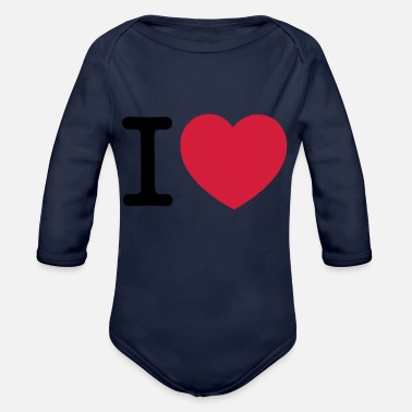 I Love I Love... - Organic Long-Sleeved Baby Bodysuit