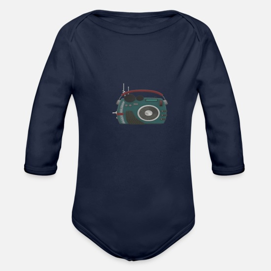 Hardstyle Baby Clothes - radio - Organic Long-Sleeved Baby Bodysuit dark navy