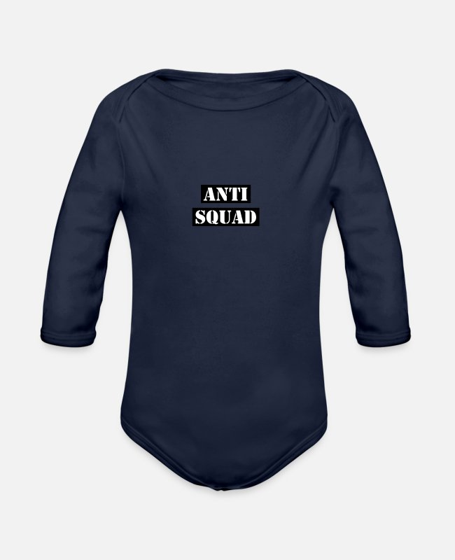 Against Baby Bodys - Anti Squad - Baby Bio Langarmbody Dunkelnavy