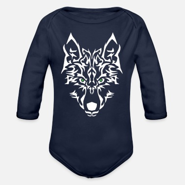 Personalise Wolf Power. Easy to personalise. - Organic Long-Sleeved Baby Bodysuit