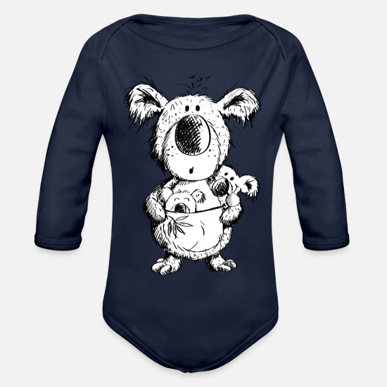 School Girls Baby Clothes - Koala Mom With Babies - Organic Long-Sleeved Baby Bodysuit dark navy