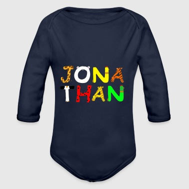 Name Jonathan with animal letters - Organic Longsleeve Baby Bodysuit