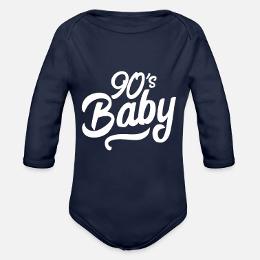 Liam Gallagher 90s baby hand lettering - Organic Long-Sleeved Baby Bodysuit